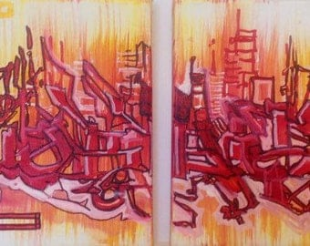 Urban Abstract Graffiti Letters- 2 Panel Canvas 100% Original Painting