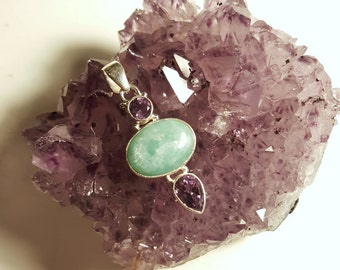 SALE Amazonite & Amethyst Sterling Pendant Genuine Gemstones