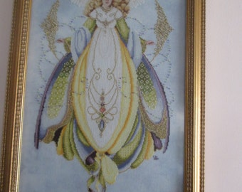 Angel of Healing-Lavender & Lace-Framed Completed Cross Stitch