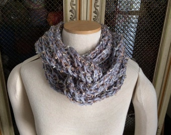 Hand Crocheted Infinity Cowl in Grey and Copper - Ready To Ship