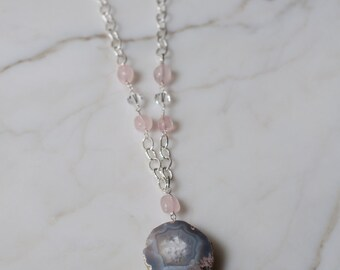 Long Wire-wrapped Agate Necklace with shades of Grey, Light Blue, Pink and White