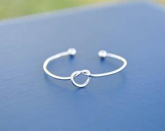 Love Knot Bangle, Silve Love Knot Open Bracelet, Gifts for Bridesmaid, Love Knot Bracelet