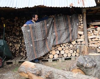 Blanket, Wool afghan, Brown blanket, Vintage blacket, Handmade blanket, King size blanket, Throw Blanket, Wool afghan, Handwoven Blanket