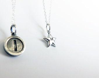 Super Mario Bros. Super Star Pendant Necklace, Sterling Silver on Sterling Silver Chain Starmen, Invincible Star Charm, Nintendo Inspired