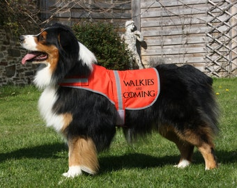 """Dogs Game of Thrones Safety Coat """"Walkies Are Coming"""" High Visibility, Choice of 4 Colours, CaniCross, CaniX, Hunting, Pet, TS 1085"""