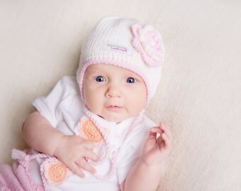 Knitted Wool Hat for Baby Girl with Earflaps, Toddler Autumn/Spring Hat, Girl Hat with Flower, White and Pink Baby Girl Hat, Girl Autumn Hat