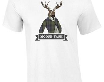 Mens Moose-Tash T-Shirt S M L XL XXL Moustache Unique Tee