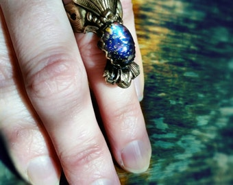 Boho Ring-  Mermaid Midi Ring Statement Knuckle Soild USA made brass with Vintage Black Opal Glass Stone