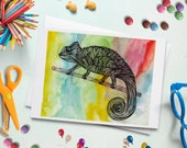 Rainbow Chameleon Greeting Card - Blank Inside w/ Envelope - Kids, Birthday, Special Occasion, Notes