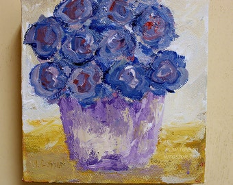 Blue Wildflowers, Blue Flower Painting, Floral Art, Winjimir, Home Decor, Office, Design, Gift, Wall Art, Wildflower Painting, Lavender Vase