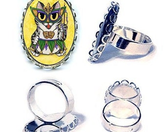 Mardi Gras Cat Ring New Orleans Mask Beads Silver Cat Ring Fantasy Cat Art Cameo Ring 25x18mm Gift for Cat Lovers Jewelry
