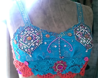 Bollywood Disco Top, Dance, Blue, Pink, Orange, Burlesque, Pretty Top, Crop Top, Bra Top, Boho