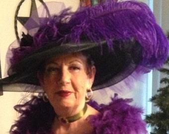 "Edwardian Downton Abbey Tea Hat Titanic Hat ""Black & Purple Crystal Fairy"""