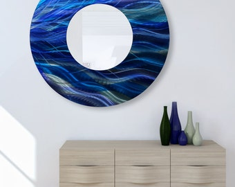 "Abstract Painted Metal Wall Circle Mirror in Aqua Blue & Teal, Huge Modern Metal Wall Mirror Accent - Mirror 111 XXL 40"" by Jon Allen"