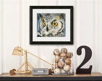 owl print | watercolor art | owl art | woodland animals | woodland creatures | bird art | owl painting | gray grey yellow | boys room decor