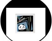 Happy Birthday Card - Handcrafted Greeting Card - Hand Cut Window Reveals Greeting Inside Of Card - Panda Birthday Card