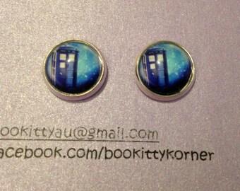 Doctor Who Tardis Silver Tone Stud Earrings 12mm