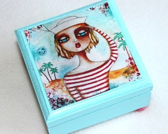 Sailor Girl Jewelry Box, Small Wood Ring Box, Nautical Whimsical Beach Art, Decoupaged, Wooden Box for Girl Woman, Blue Red