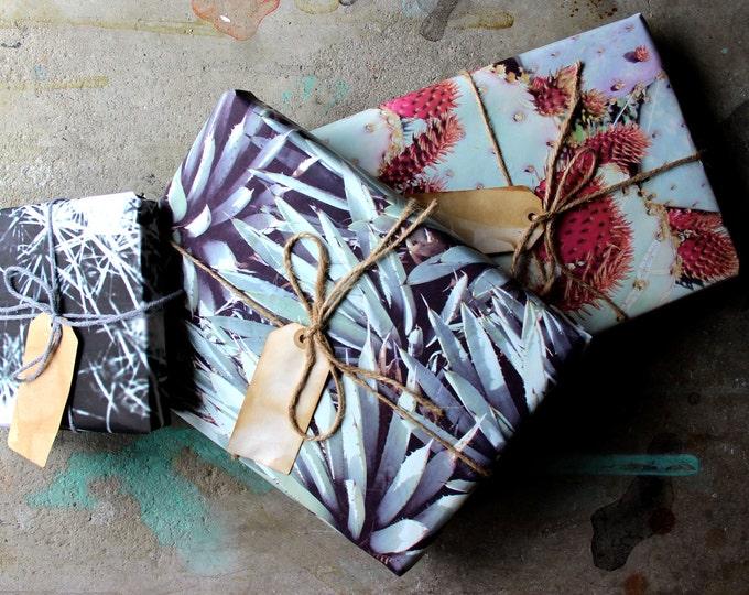 Desert Garden Gift Wrap Sheet 3 Pack - Cacti and Succulent Gift Wrap - Desert Southwest Gift Wrapping Paper