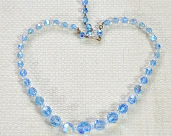 Ice Blue Sparkling Aurora Borealis Multi Faceted Crystals Necklace - Graduated Beads Frozen Theme - Adjustable Length - Gift Boxed