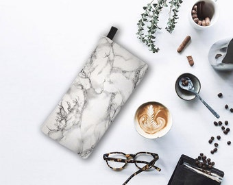 Grey Marble Cosmetic & Pencil Case - Modern Printed Zipper Clutch - Marble Makeup Case