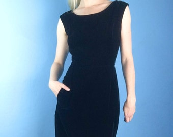 HARVEY BERIN 50s Hourglass Wiggle Black Cotton Velvet Cocktail Party Dress M