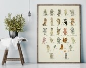 Alphabet poster - Nursery animal print, Alphabet art - ABC print - ABC wall art - ABC - Nursery animal  Nursery decor - Kids room decor