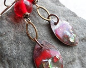 Red Hots ... Enameled Copper Charms, Lampwork and Brass Wire-Wrapped Rustic, Boho Earrings