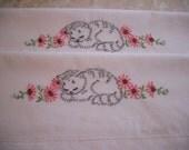 Hand Embroidered Pillowcases- Set of 2- Sleepy Kitten