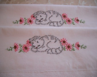 Hand Embroidered Pillowcases- Set of 2- Sleepy Kitten