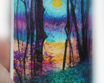 Harvest moon rising, aceo original, Artist trading card, moon art, tree art, blue art, purple art, moon #Aceo original #Moon #Harvest moon