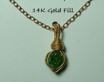 Sale TSAVORITE GARNET 14K Gold Fill Wire Wrapped Gemstone Crystal Pendant Chain Necklace Bright Emerald Green Tsavorite From Tanzania