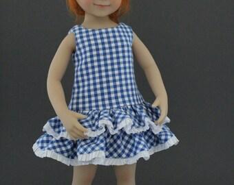 Blue Gingham Ruffle dress designed for Dianna Effner Little Darling dolls by Matilda Pink