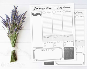 2016 Printable Planner and Calendar, Weekly Planner, Black & White Vintage Organizer, Daily To Do List - PDF INSTANT DOWNLOAD