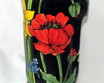 Ceramic Cylinder Vase Free Formed Floral Motif on Etsy