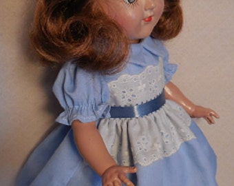 """For Ideal P-90 14"""" Toni Doll - Light Blue Dress with Lace, Similar to Original"""