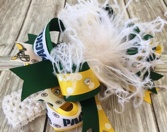 Big Green Bay Packers Hair Bow, Over the Top Baby Headband,Packers Hairbow,Baby Headband,NFL Headband,Infant Headband,Green and Yellow Bows,