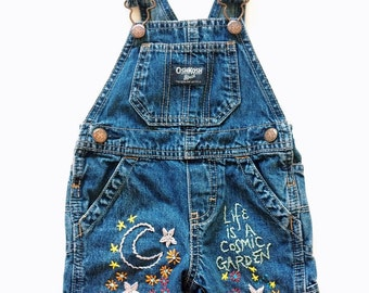 Cosmic Garden Embroidered Baby Size OshKosh Overalls