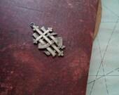 victorian monogram cross charm  - vintage catholic religious jewelry