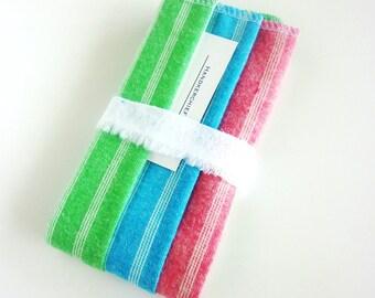 3 Stripe Handkerchief - Mens Ladies Handkerchief Set - Large Square Ultralight Flannel Hankies - Reusable Tissues - Cloth Tissue - Soft