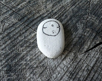 Tiny Beach Pottery Jizo - Meditation, Healing, Protection, Spiritual, Contemplation, Solitude, Awareness, Zen, Calm, Peaceful, Silence, Love