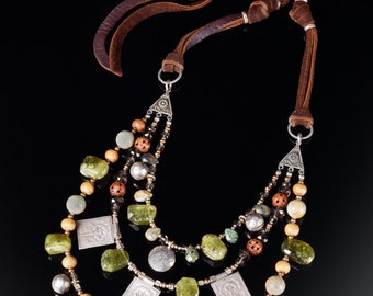 Semiprecious gemstone necklace * Thai silver and green garnet * all the beads you can handle