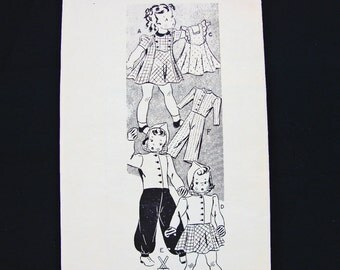 1940s Doll Clothes Patterns Original 22 inch Doll Clothes Pattern Mail Order Pattern Doll Wardrobe Pattern Vintage Sewing Pattern 40s