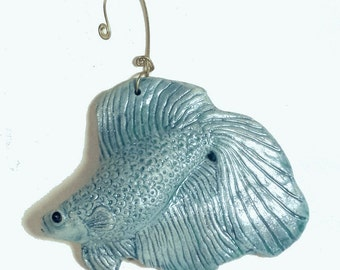 Ceramic Fish Ornament, Porcelain Beta Fish, Home Decor Sculpture Animal