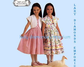 McCalls 9203 Girls Dress Sundress Bolero Jacket Childs size 6 7 8 Ruffles and Lace Treasured Collection Summer Dress Sewing Pattern Uncut FF