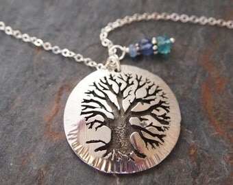 Oak Tree Gemstone Necklace