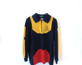 90s NAUTICA Long Sleeve Polo with Zipper and Logo Detail Colorblock L XL