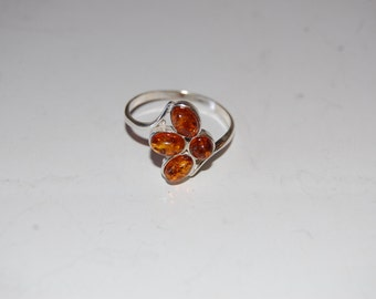 Gorgeous Genuine Amber Semi-Precious 4-Stone Sterling Silver Ring