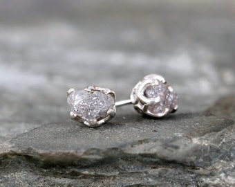 Raw Diamond Earrings - Sterling Silver Vintage Inspired - 2 Carat Stud Earring - April Birthstone - Uncut Diamond - Conflict Free Diamonds
