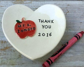 Personalized teacher appreciation gift ceramic ring holder dish handmade by Cathie Carlson